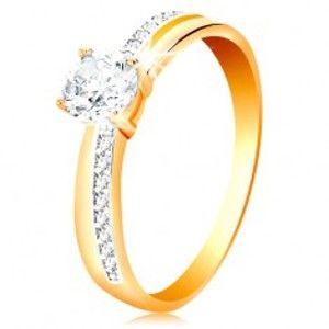 Prsten ze zlata 585 - úzké zirkonové linie na ramenech, velký čirý zirkon GG200.45/51