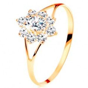 Prsten ze žlutého 14K zlata - čirý zirkonový kvítek, rozdělená ramena GG109.10/16