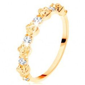 Prsten ze žlutého 14K zlata - střídající se růžičky a kulaté čiré zirkony GG109.38/41/110.01/03