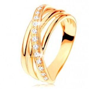 Prsten ze žlutého 14K zlata - tři hladké pásy, šikmá zirkonová linie GG127.08/127.26/30