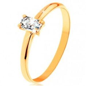 Prsten ze žlutého zlata 585 - vystupující zirkonový obdélník, hladká ramena GG156.29/35