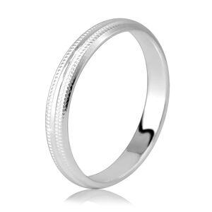 Prstýnek z 925 stříbra - lesklý proužek a dva vroubkované zářezy, 3 mm - Velikost: 54