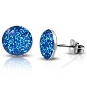 Puzetové náušnice - maličké modré třpytky S17.16