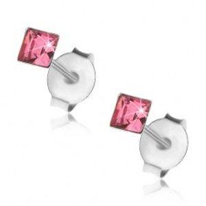 Puzetové náušnice, stříbro 925, čtvercový krystalek v růžovém odstínu, 3 mm I39.10