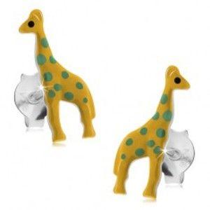 Puzetové náušnice, stříbro 925, žlutá glazovaná žirafa se zelenými tečkami I24.12