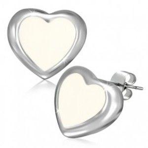 Puzetové náušnice z oceli - máslově bílé srdce se stříbrným okrajem AA40.02
