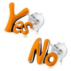 Puzetové náušnice ze stříbra 925, slova Yes a No, oranžová glazura, patina I23.21