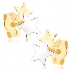 Puzetové náušnice ze žlutého 9K zlata - dvoubarevné hvězdičky GG73.13