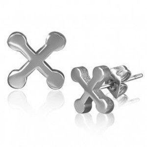 Puzetové ocelové náušnice - lesklý stříbrný kříž s kruhovými cípy X27.1