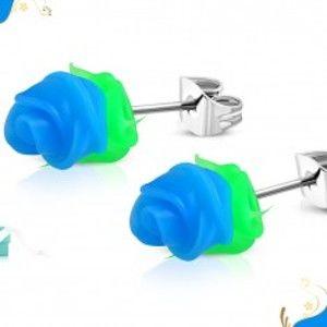 Puzetové ocelové náušnice, modrá silikonová růžička se zelenými lístky SP27.17