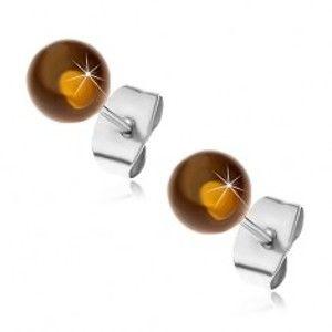 Puzetové ocelové náušnice, poloprůhledné žlutohnědé kuličky, 6 mm G15.28