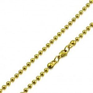 Řetízek zlaté barvy z chirurgické oceli - lesklé kuličky oddělené tyčinkami, 2,5 mm S33.09