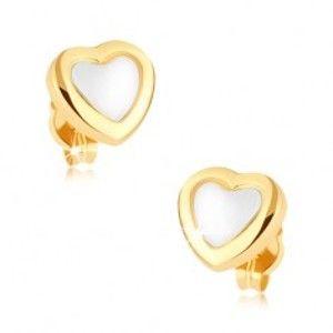 Rhodiované náušnice v 9K zlatě, srdce, lesklá žlutá kontura, bílý střed GG38.06