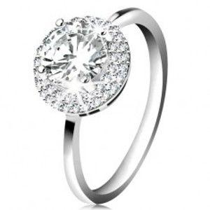 Rhodiovaný prsten, stříbro 925, kulatý zirkon čiré barvy, blýskavý lem K02.09