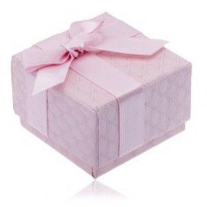 Růžová krabička na šperk se čtverečkovým vzorem, mašle Y3.18