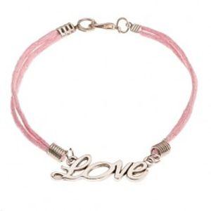 """Růžový šňůrkový náramek, přívěsek stříbrné barvy - nápis """"Love"""" SP36.6"""