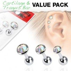 Sada tří ocelových piercingů do ucha s kulatými duhovými kamínky SP07.08