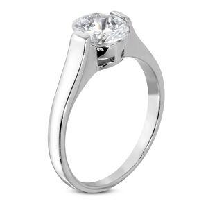 Snubní prsten s čirým velikým oválným zirkonem - Velikost: 60