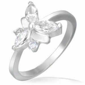 Snubní prsten, ocelově-zirkonový motýlek F6.20