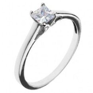 Snubní prsten ze stříbra 925 - čtvercový zirkon s vystouplým uchycením C23.15