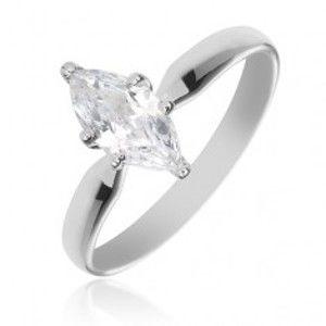 Zásnubní prsten ze stříbra 925 - velký třpytivý zirkon ve tvaru zrnka X34.7