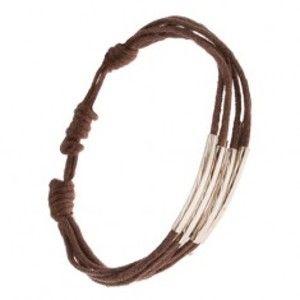 Šňůrkový multináramek čokoládově hnědé barvy, rourky se zářezy S30.18