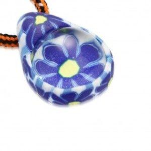 Šňůrkový náhrdelník - FIMO slza s modrými kvítky, skleněná kulička S29.31