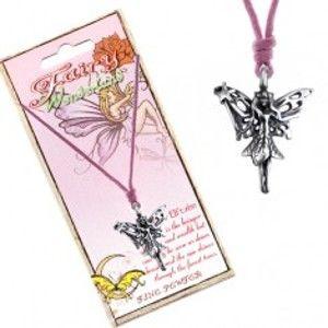 Šňůrkový náhrdelník - přívěsek lesní víly s kouzelnou hůlkou AC3.19