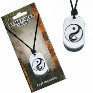 Šňůrkový náhrdelník, kovová známka se symbolem Jin Jang S3.10