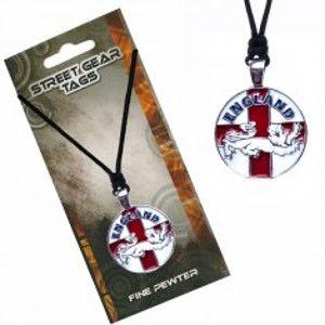 Šňůrkový náhrdelník s přívěskem, anglická vlajka se lvem S3.4