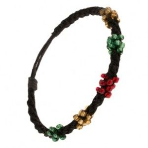 Spirálový náramek z černých šňůrek, korálky tří barev Q22.01