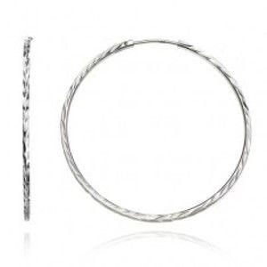 Stříbrné náušnice 925 - kruhy s hranami, vyhloubené lístky, 50 mm A18.2