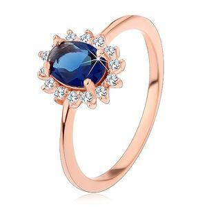 Stříbrný 925 prsten měděné barvy, tmavomodrý oválný zirkon s čirou obrubou - Velikost: 49