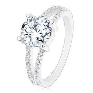 Stříbrný 925 prsten - zásnubní, rozdělená zirkonová ramena, zářivý kulatý zirkon - Velikost: 59
