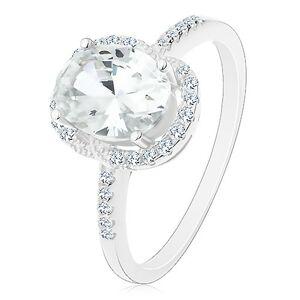 Stříbrný 925 prsten - zásnubní, velký oválný zirkon čiré barvy v kotlíku, čirý lem - Velikost: 61