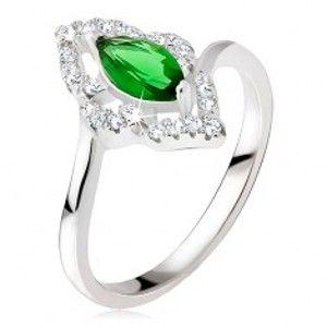 Stříbrný prsten 925 - elipsovitý kamínek zelené barvy, zirkonová kontura BB16.14