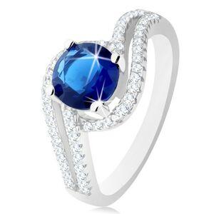 Stříbrný prsten 925, čiré dvojité vlnky, kulatý tmavě modrý zirkonek - Velikost: 51