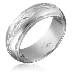 Stříbrný prsten 925 - gravírovaný pás květů s lístky, oblý povrch - Velikost: 50