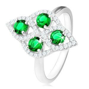 Stříbrný prsten 925, oblý kosočtverec, čtyři kulaté zelené zirkony, čirý lem - Velikost: 50