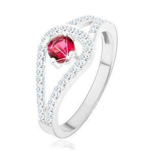 Stříbrný prsten 925, rozdvojená třpytivá ramena, růžový zirkon - Velikost: 49