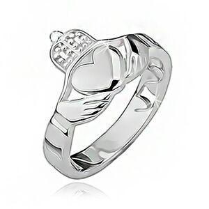 Stříbrný prsten 925 - srdce, ruce, korunka, výřezy po obvodu - Velikost: 55