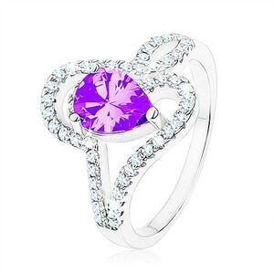 Stříbrný prsten 925, zirkon tanzanitové barvy - slza, propletené linie - Velikost: 52