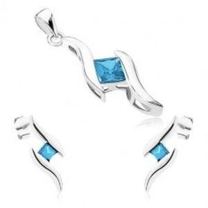 Stříbrný set 925 - přívěsek a náušnice, dvě lesklé vlnky, modrý zirkonový čtvereček SP73.15