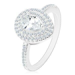 Stříbrný zásnubní prsten 925, čirá broušená kapka ve dvojité kontuře - Velikost: 54