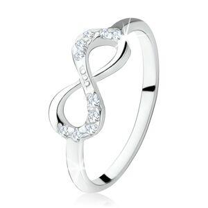 Stříbrný zásnubní prsten 925, ležící osmička, čiré zirkony - Velikost: 59