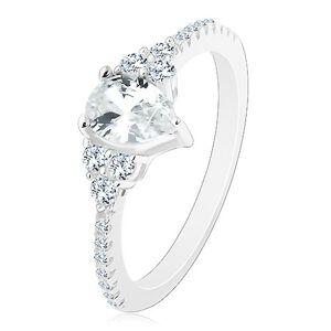 Stříbro 925 - zásnubní prsten, vroubkované okraje se zirkonky, blýskavá čirá slza - Velikost: 60