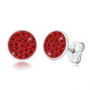Stříbrné 925 náušnice - třpytivý kruh vykládaný červenými zirkony S55.31