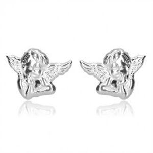 Stříbrné náušnice 925 - zamyšlený anděl s křídly, lesklý povrch, puzetky P08.02
