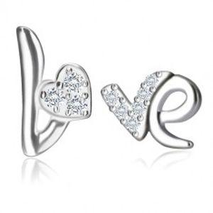 Stříbrné náušnice 925 - motiv Love, srdíčko a písmeno se zirkony, puzetky Q19.17