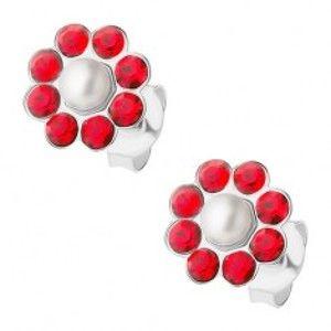 Stříbrné náušnice 925, červený kvítek s bílou perličkou uprostřed I34.08